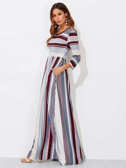 Colorful Striped High Waist Dress
