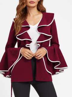 Contrast Binding Shawl Collar Bell Sleeve Blazer