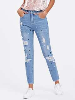 Beading Bleached Wash Shredded Jeans