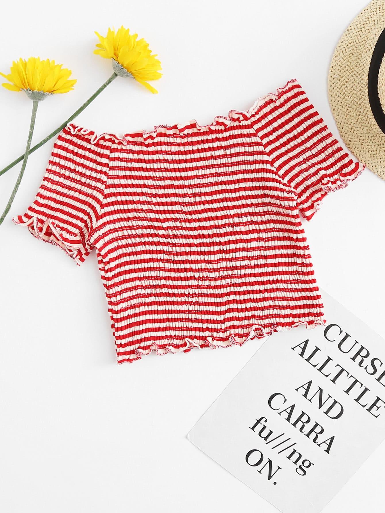 Contrast Stripe Ruffle Hem Crinkle Tee stripe contrast ruffle hem hooded dress