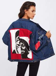 Patch Back Letter Print Bleach Wash Denim Jacket