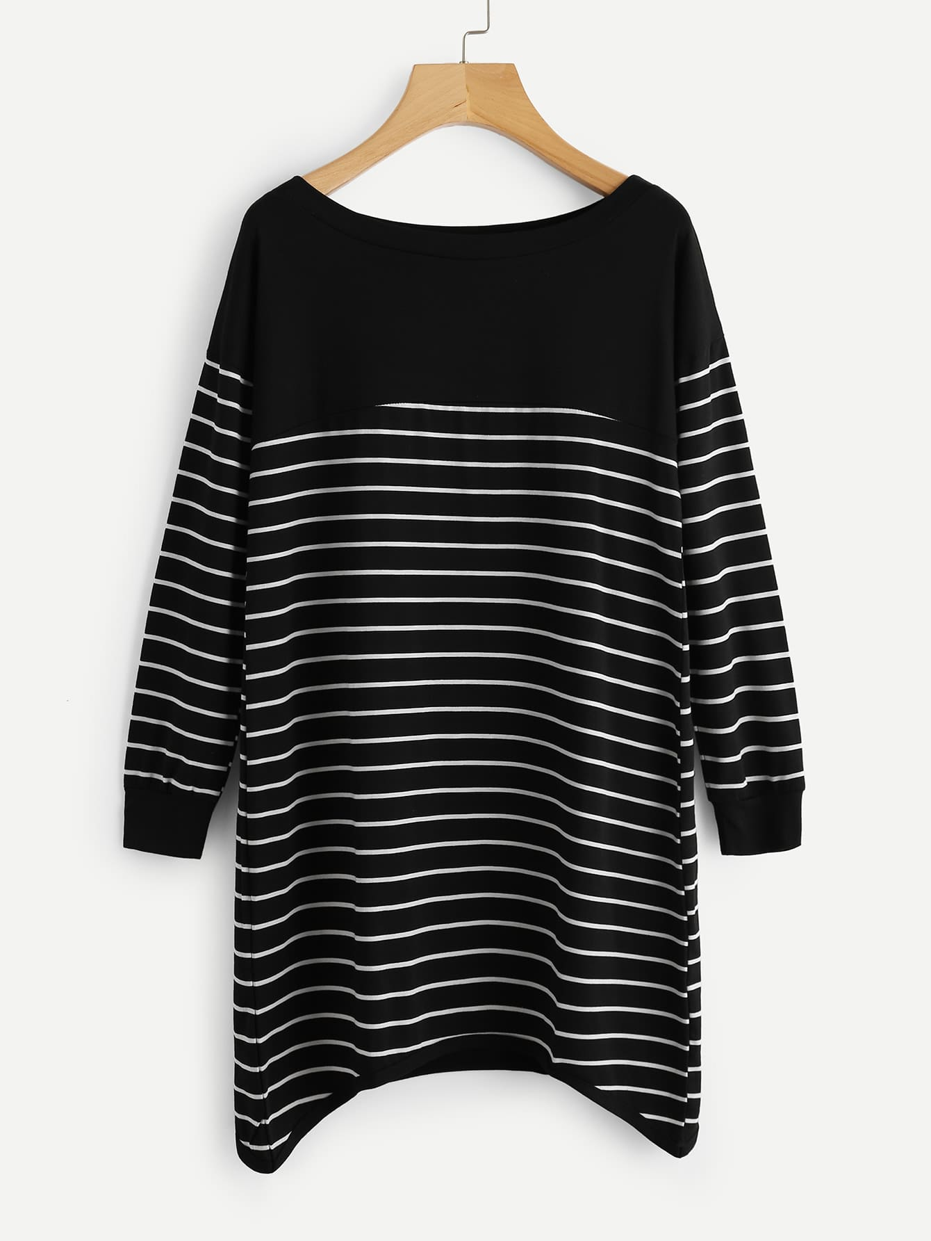 Contrast Striped Hanky Hem Dress high slit hanky hem metallic halter dress