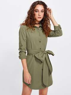 Dolphin Hem Bow Belted Shirt Dress
