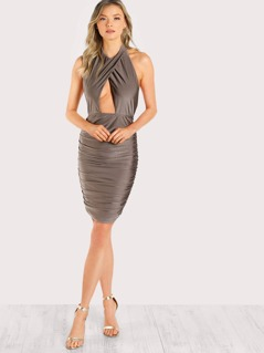 Cross Wrap Open Front Ruched Dress