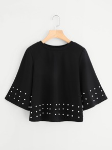Pearl Embellished Wide Sleeve Top