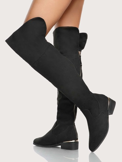 Over The Knee Gold Trim Boots BLACK