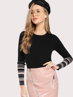 Striped Sleeve Ribbed Long Sleeve Top BLACK
