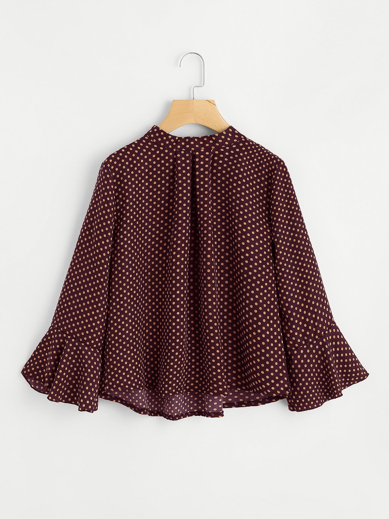 Fluted Sleeve Polka Dot Pleated Front Blouse double v neck fluted sleeve jumper