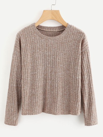 Drop Shoulder Ribbed Marled Sweater
