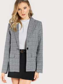 Plaid Button Up Blazer GREY