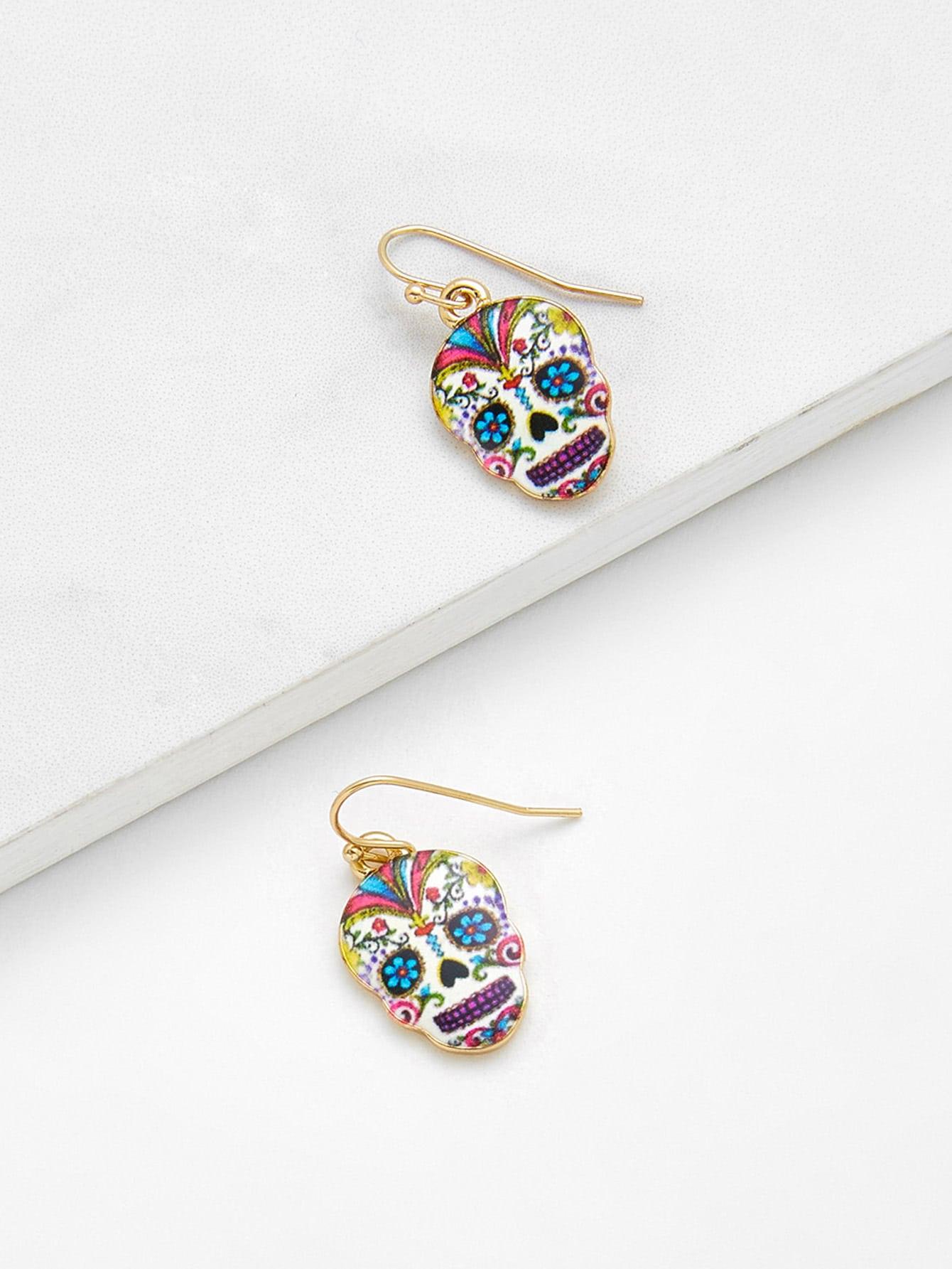 Skeleton Design Drop Earrings two tone face design drop earrings