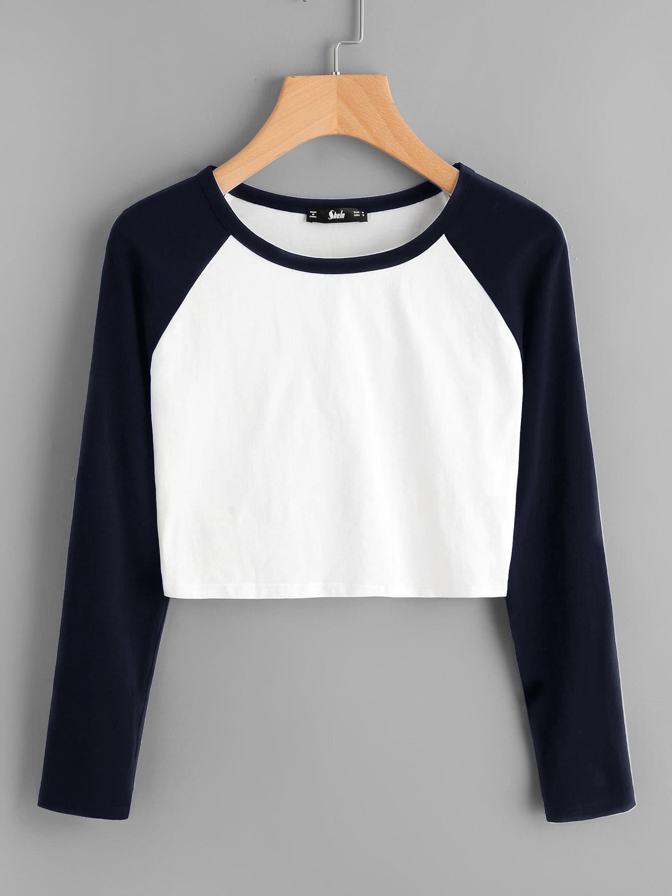 Two Tone Raglan Sleeve Crop Tee two tone drop shoulder tee