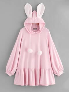 Pompom Drawstring Hoodie Rabbit Dress