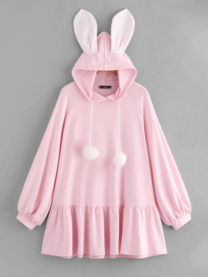 Pompom Drawstring Hoodie Rabbit Dress