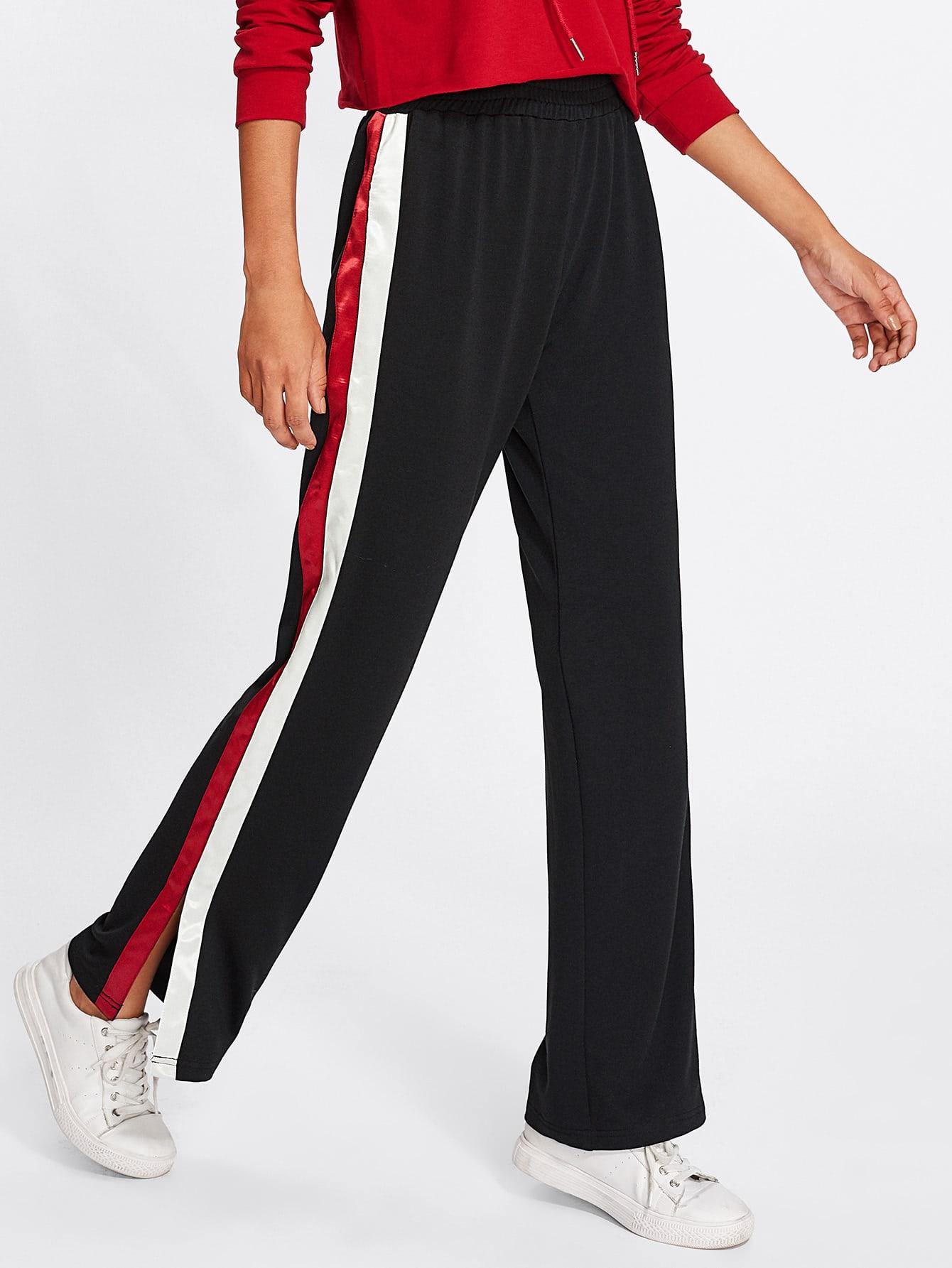 Striped Slit Side Pants striped side track pants