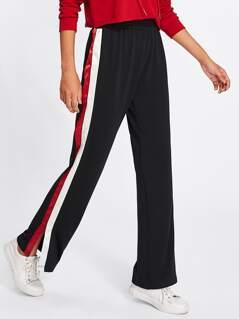Striped Slit Side Pants