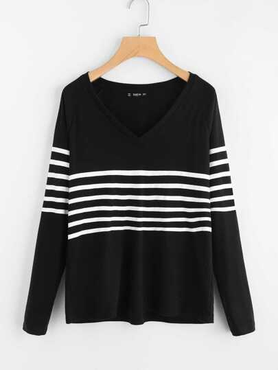 Striped Insert V Neck Tee
