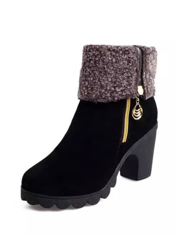 Faux Fleece Lined Platform Suede Boots