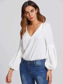 Boxed Pleated Bishop Sleeve Tunic Top
