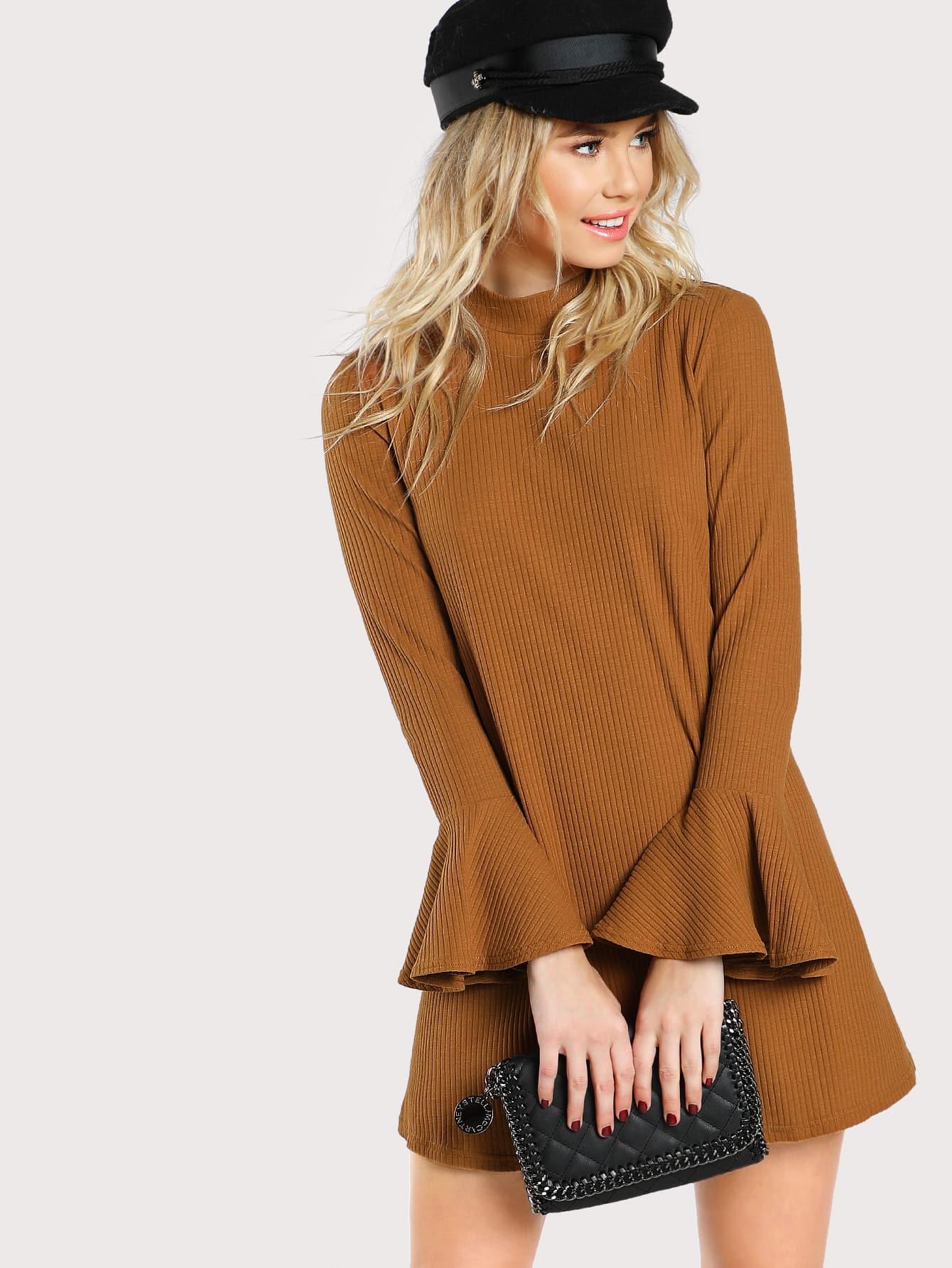 Bell Sleeve Rib Knit Dress bell sleeve rib knit dress