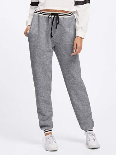 Striped Trim Heather Knit Sweatpants