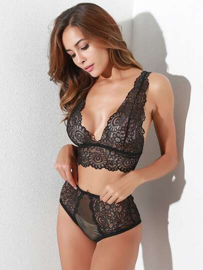 Hollow Out Lace Lingerie Set
