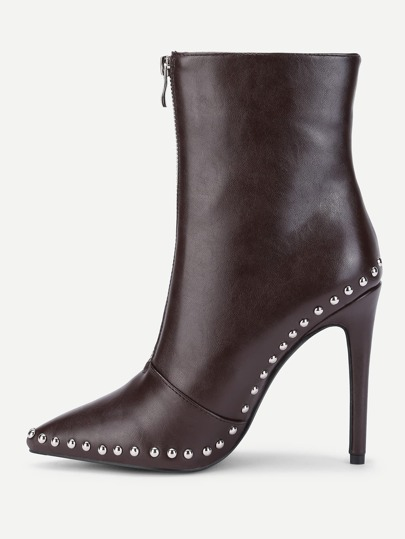 Studded Trim Stiletto Boots