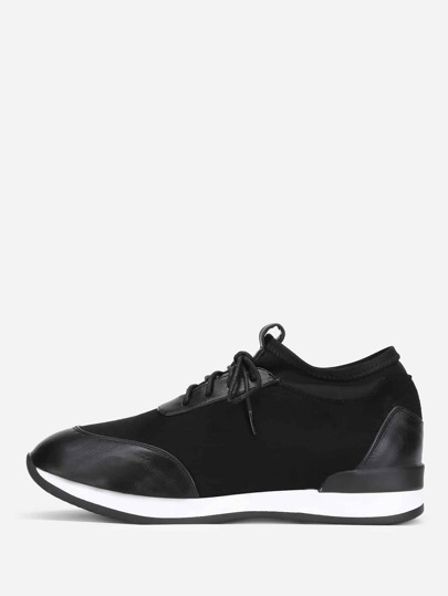 PU Panel Lace Up Trainers