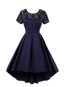 Lace Panel Dip Hem Pleated Dress