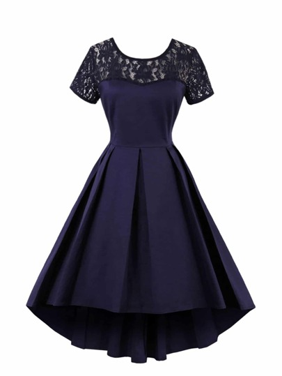 Lace Panel Dip Hem Pleated Dress