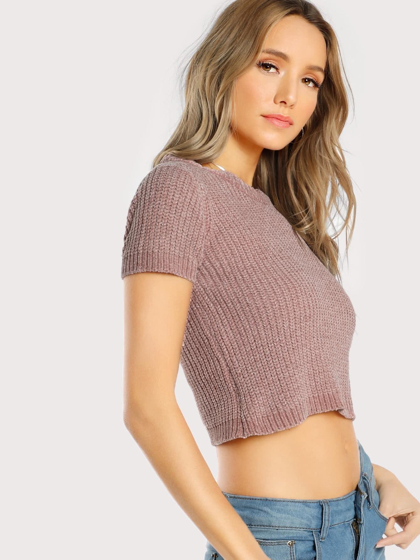 Short Sleeve Cropped Sweater ROSE -SheIn(Sheinside)