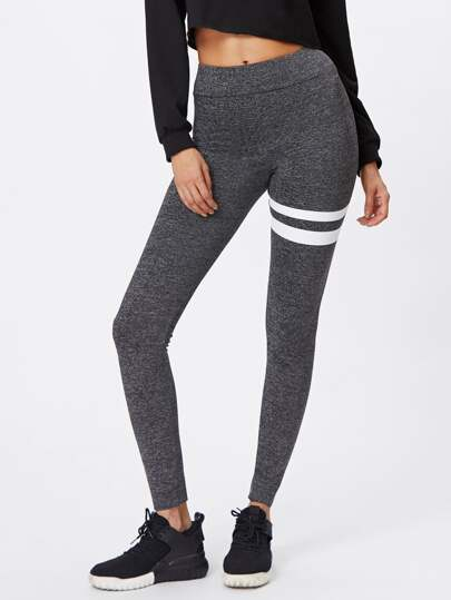 Asymmetric Striped Leggings