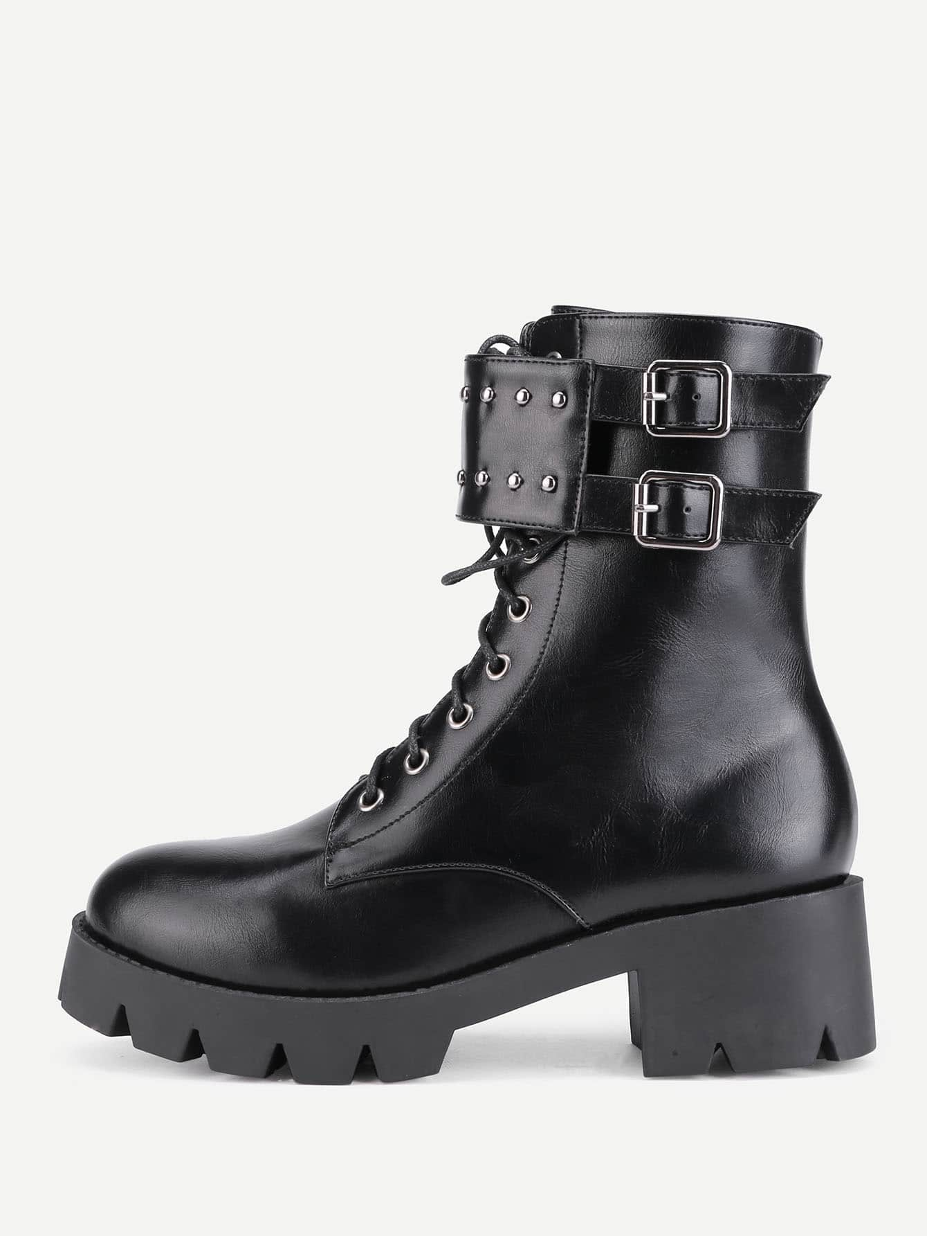Studded Detail Buckle Strap PU Boots