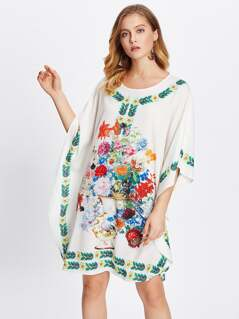 Flower Print Poncho Dress
