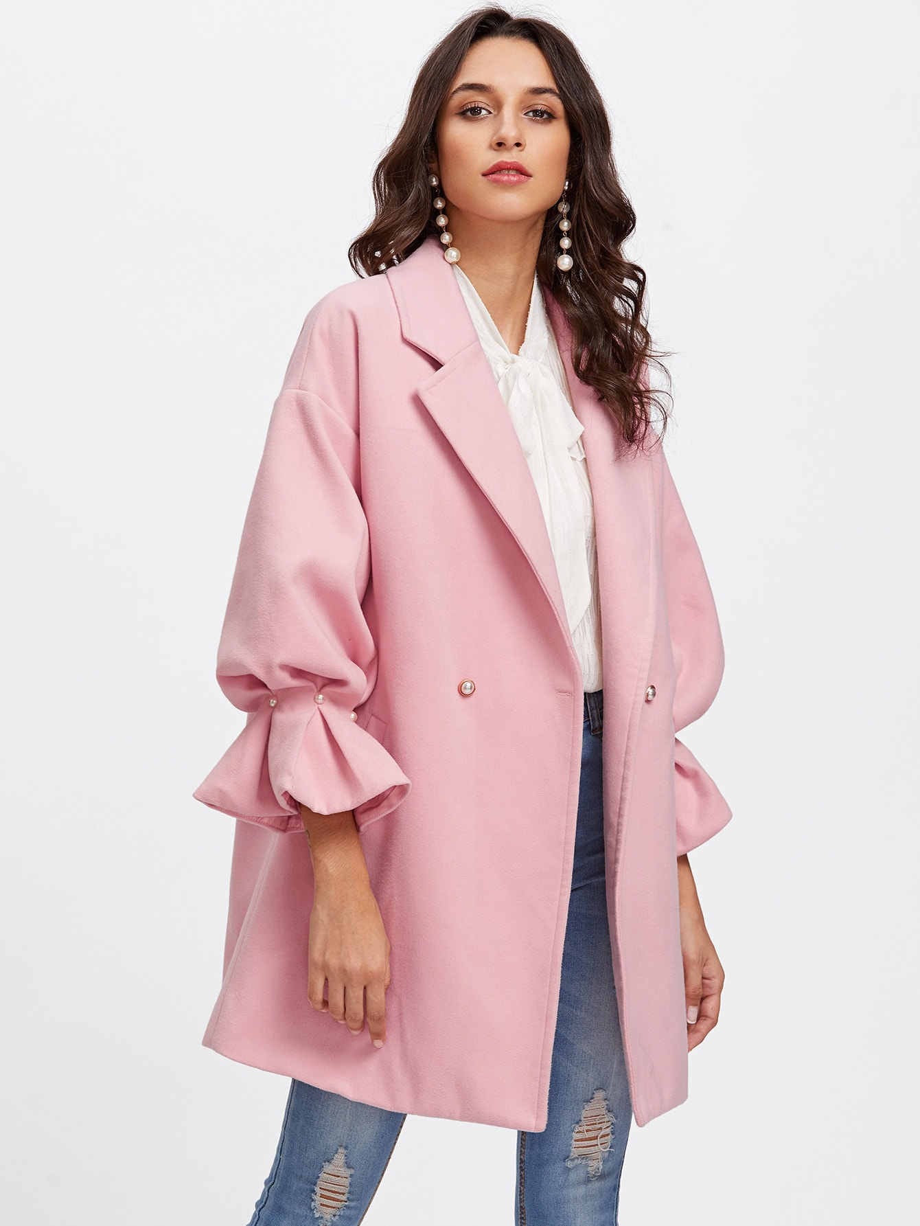 Drop Shoulder Pearl Detail Ruffle Cuff Coat drop shoulder grommet tie detail sweatshirt