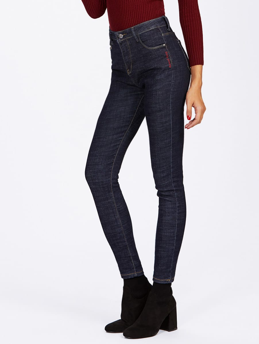 Letter Embroidered Skinny Jeans