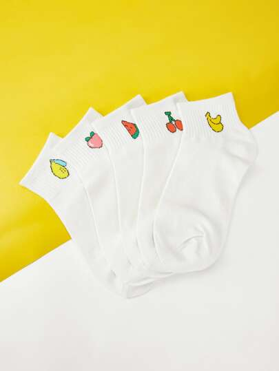 Fruit Print Detail Socks 5pairs