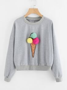 Faux Fur Pom Pom Ice Cream Sweatshirt
