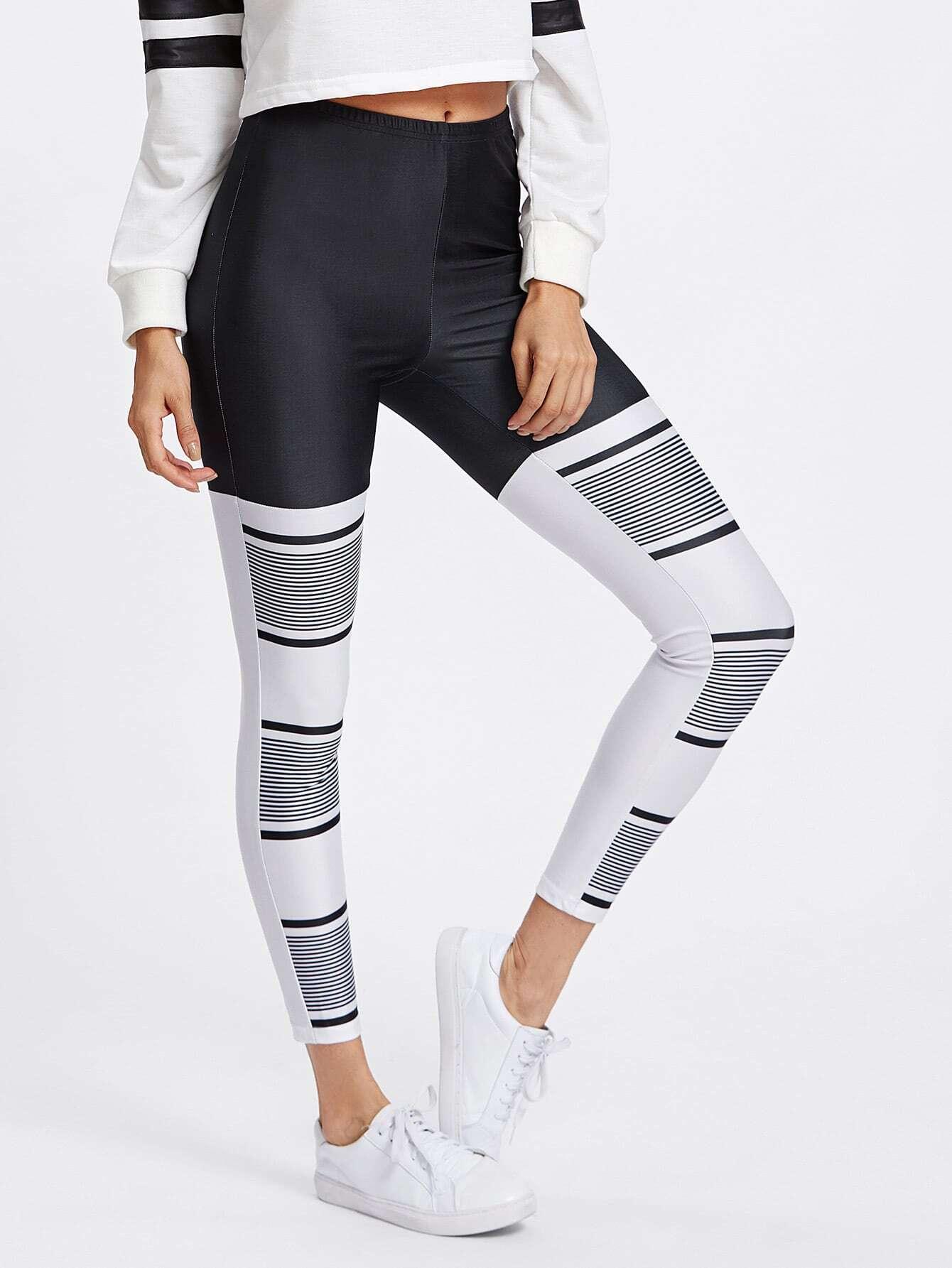 Two Tone Stripe Print Leggings leggings171018707