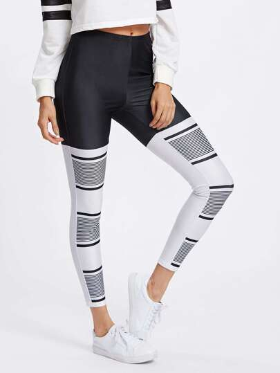 Two Tone Stripe Print Leggings