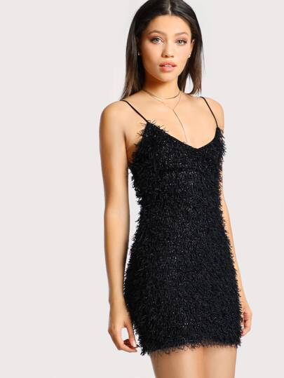 Allover Fluffy Fringe Cami Dress