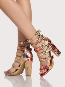 Reflective Floral Print Strappy Heels TAN
