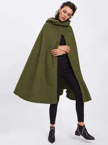 Split Front Hooded Cape