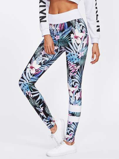 Floral Print Varsity Striped Leggings