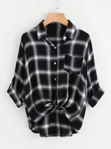 Drop Shoulder Roll Tab Sleeve Plaid Shirt
