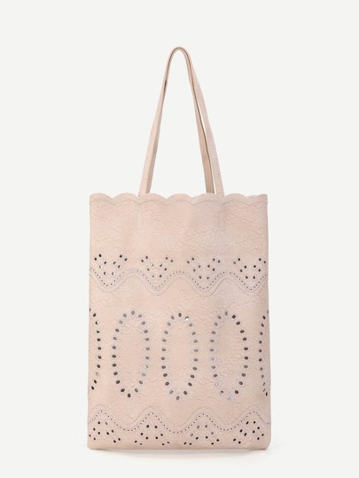 Scallop Trim Tote Bag With Inner Pouch