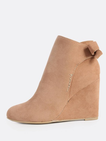 Back Bow Wedge Heel Boots CAMEL