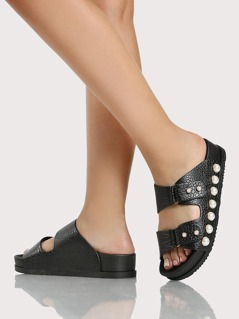 Pearl Studded Duo Band Sandals BLACK