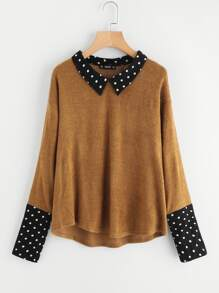 Contrast Polka Dot Collar And Cuff Tee