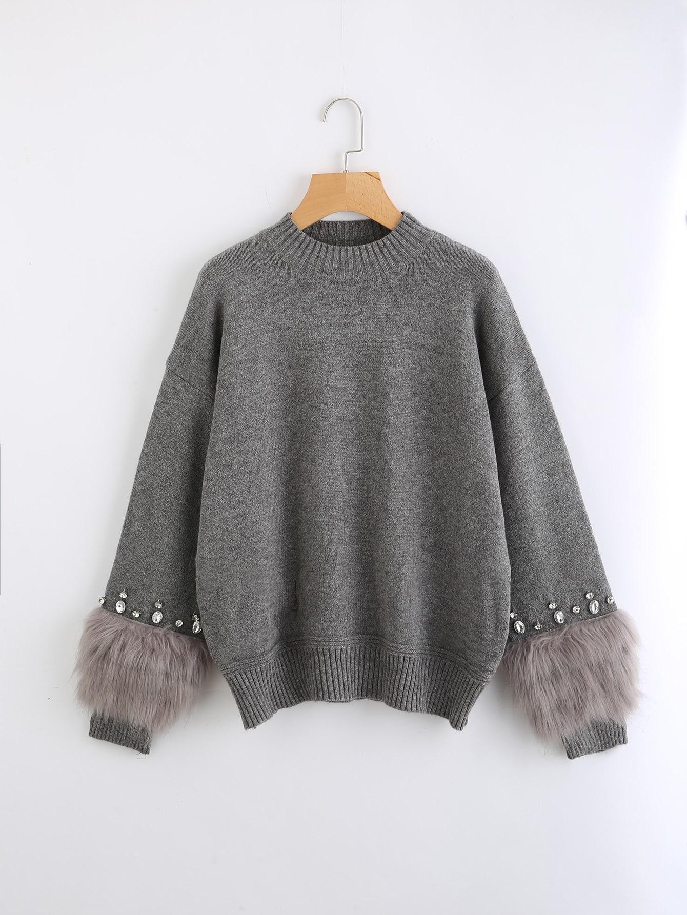 Rhinestone Ans Faux Fur Embellished Cuff Jumper faux fur cuff drop shoulder raw hem sweatshirt